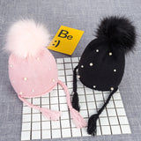 Pearls Baby Pom Pom Knitted Beanie - Little Swan Boutique