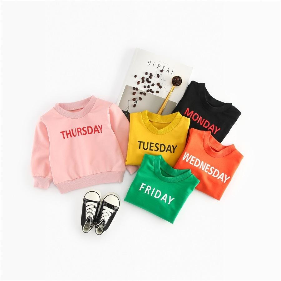 Kids Weekdays Letter Print Tops - Little Swan Boutique