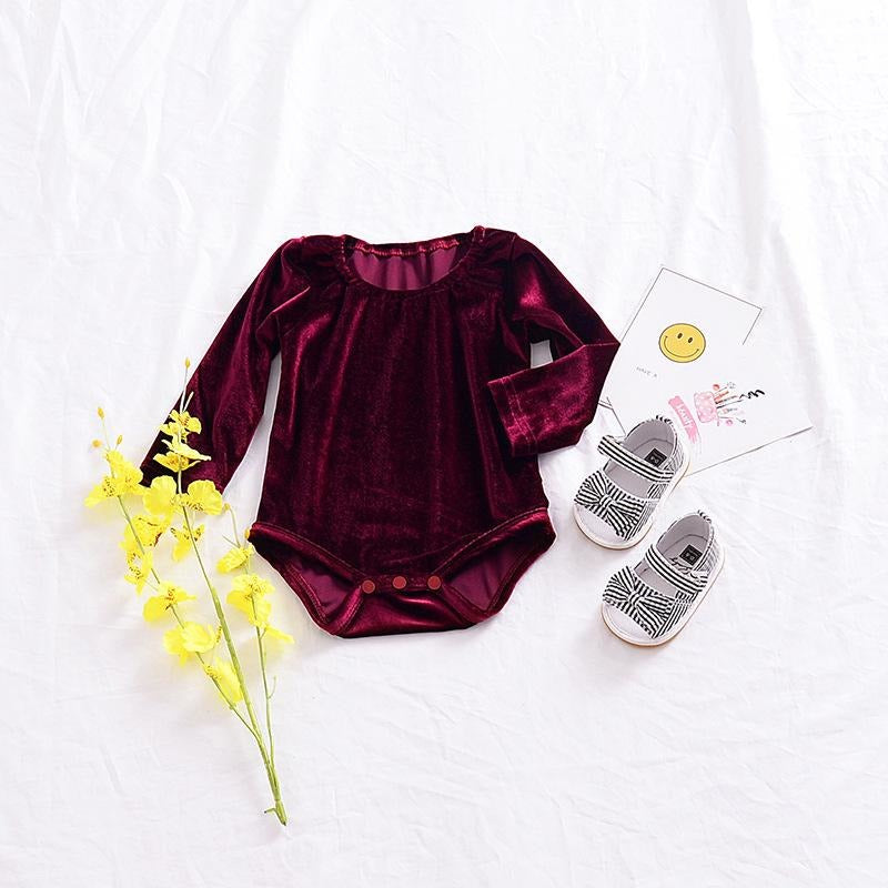 Baby Girls Velvet Bodysuit - Little Swan Boutique