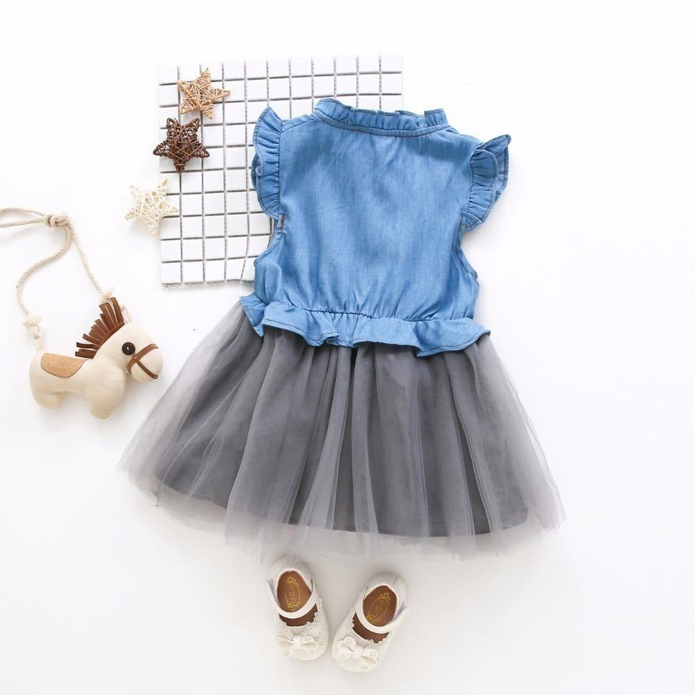 Girls Denim Tutu Dress - Little Swan Boutique