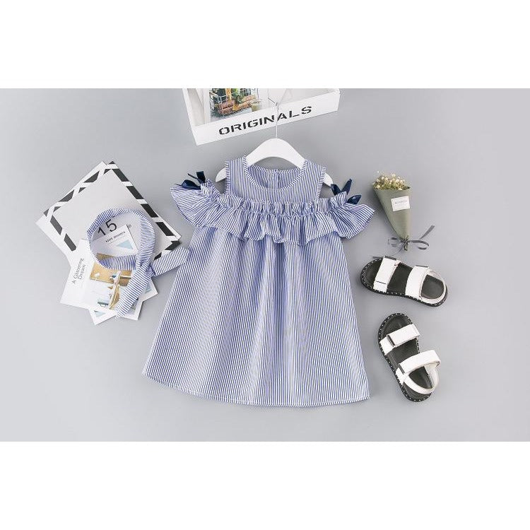 Little Girls Striped Dress - Little Swan Boutique