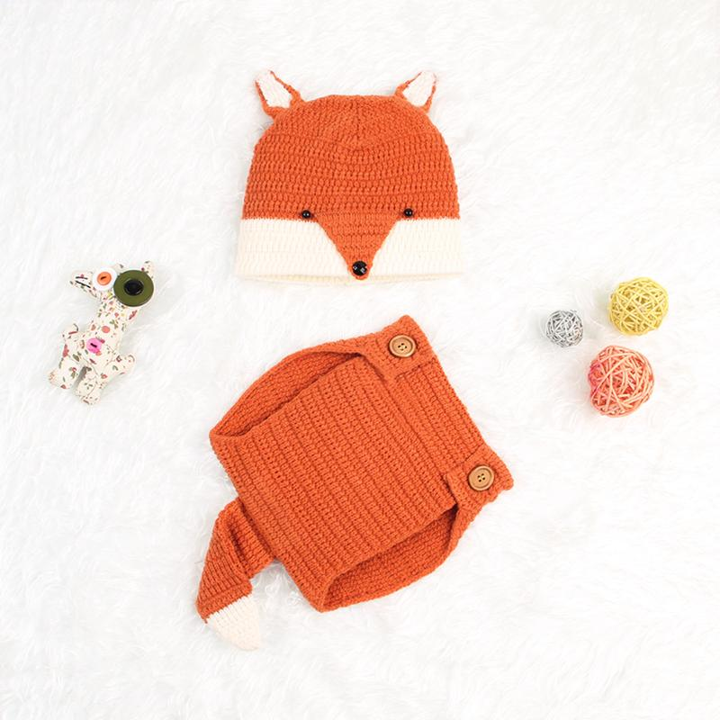 Crochet Fox Baby Photo Props - Little Swan Boutique