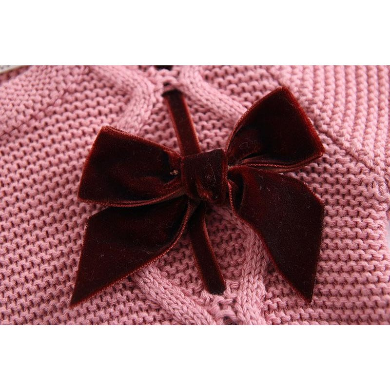 Cute Baby Knitted Bow Bodysuit - Little Swan Boutique
