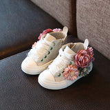 Cute Girls Fashion Flower Sneakers - Little Swan Boutique