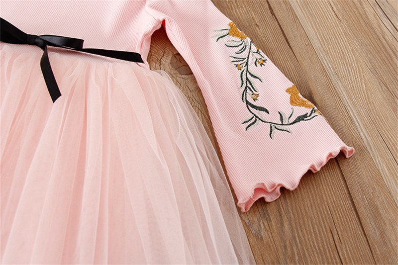 Girls Embroidered Flower Dress - Little Swan Boutique