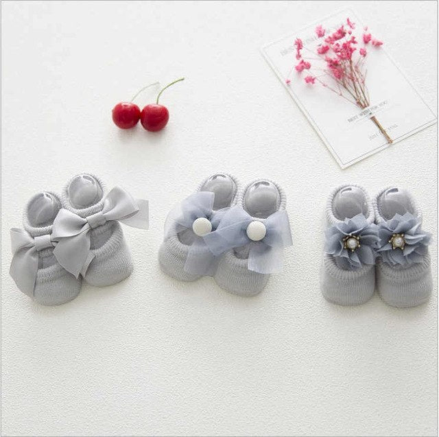 3 Pair/Lot Baby Bow Flower Socks - Little Swan Boutique