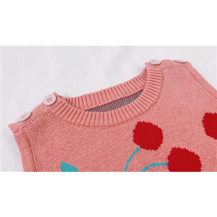 Cute Baby Knitted Cherry Romper - Little Swan Boutique