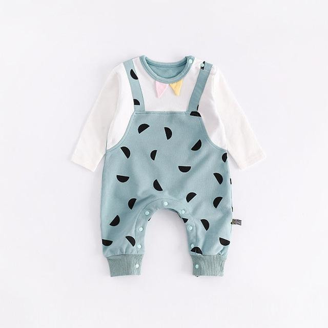 Baby Half Moon Print Jumpsuit - Little Swan Boutique