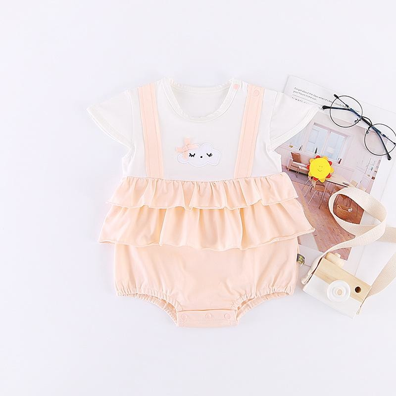 Cute Baby Romper With Cloud Print - Little Swan Boutique