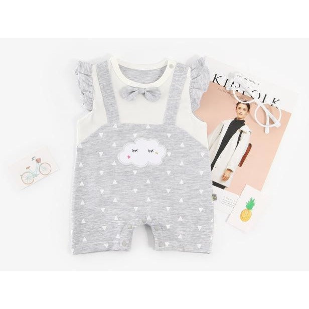 Cute Baby Cloud With Bow Jumpsuit - Little Swan Boutique