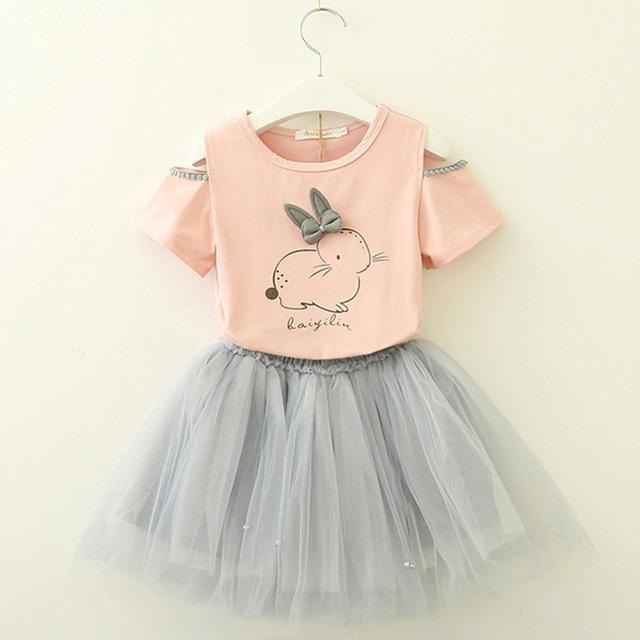 Cute Girls Rabbit Print Clothing Set - Little Swan Boutique