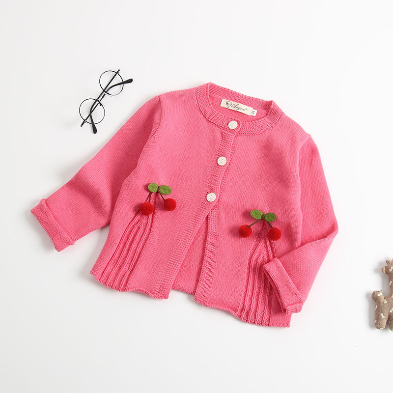 Baby Girls Knitted Cherry Cardigan - Little Swan Boutique