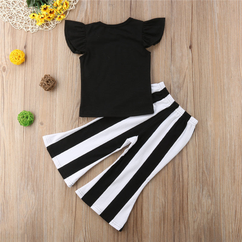 Girls Sleeveless Ruffle letter T-Shirt + Striped Trousers