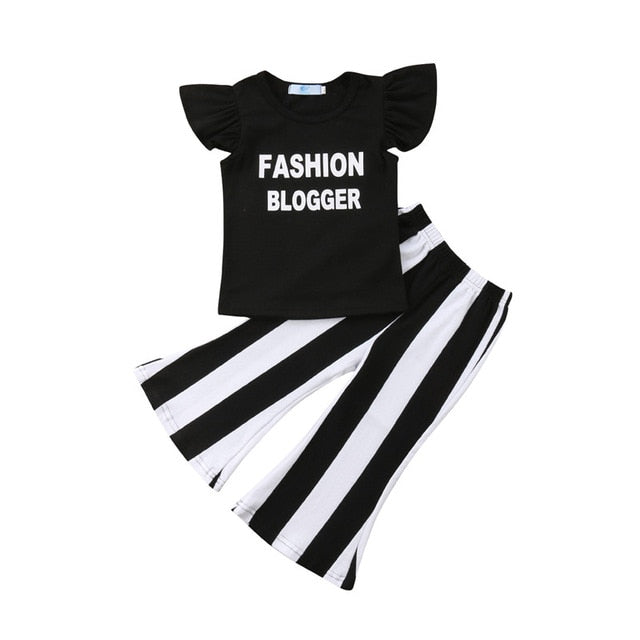 Girls Sleeveless Ruffle letter T-Shirt + Striped Trousers - Little Swan Boutique