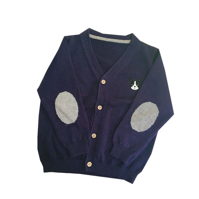 Kids Knitted Dog  Print Cardigan - Little Swan Boutique