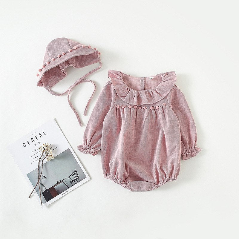 Baby Girls Corduroy Romper + Bonnet - Little Swan Boutique