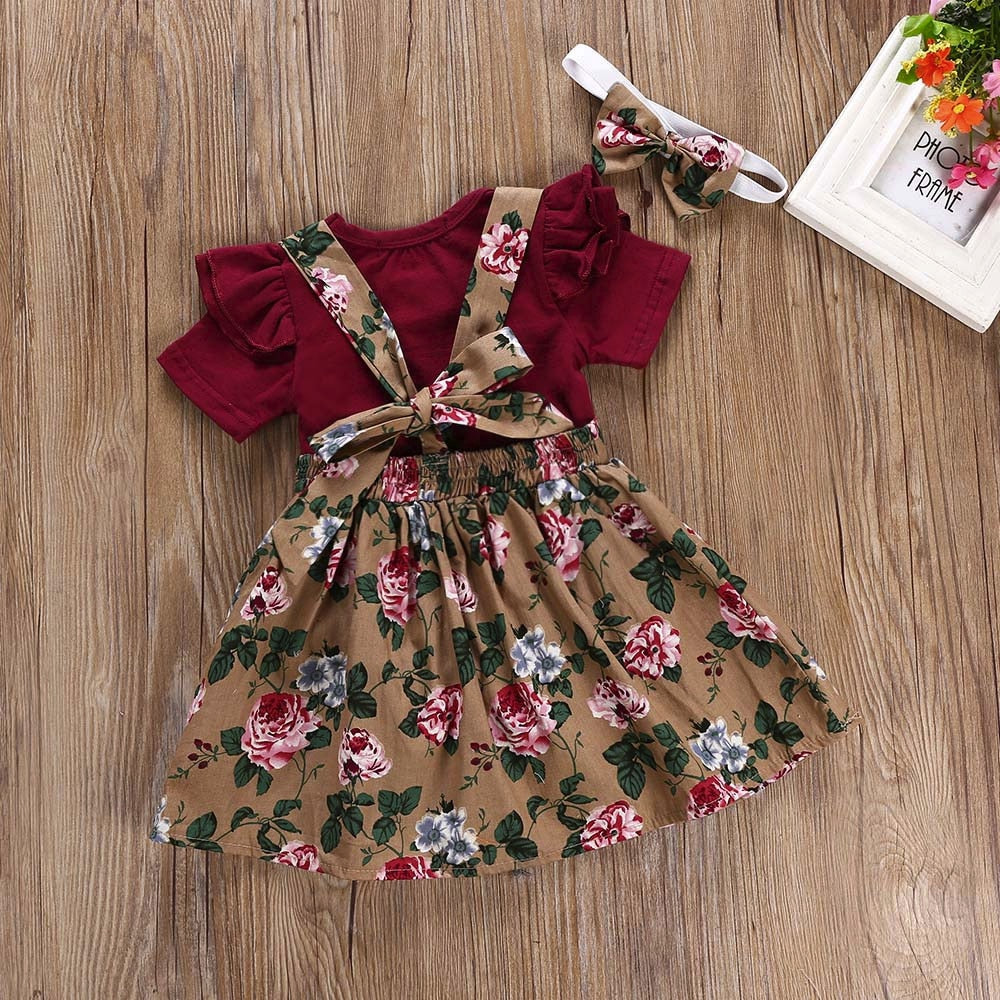 3Pcs Ruffle Romper Floral Dress + Headband - Little Swan Boutique