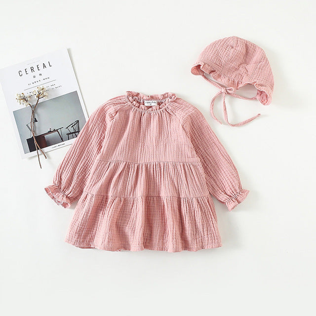 Baby Girls Dress + Bonnet - Little Swan Boutique