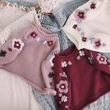 Girls Knitted Floral Cardigan - Little Swan Boutique