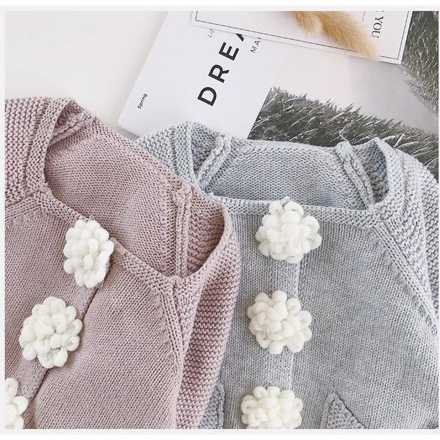 Little Princess Knitted Flower Cardigan - Little Swan Boutique