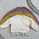 Girls Korean Style Tassel Sweater - Little Swan Boutique