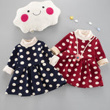 Girls Polka Dot Fleece Dress - Little Swan Boutique