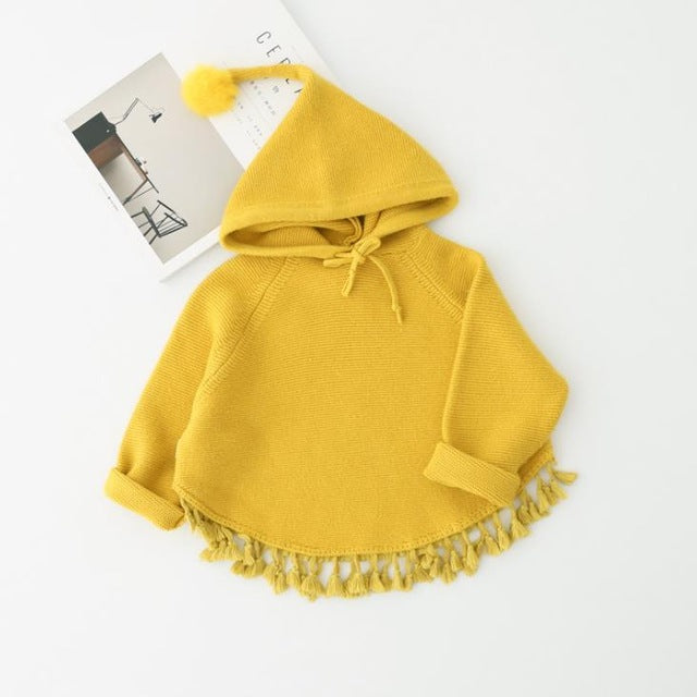 Girls Knitted Hooded Tops - Little Swan Boutique