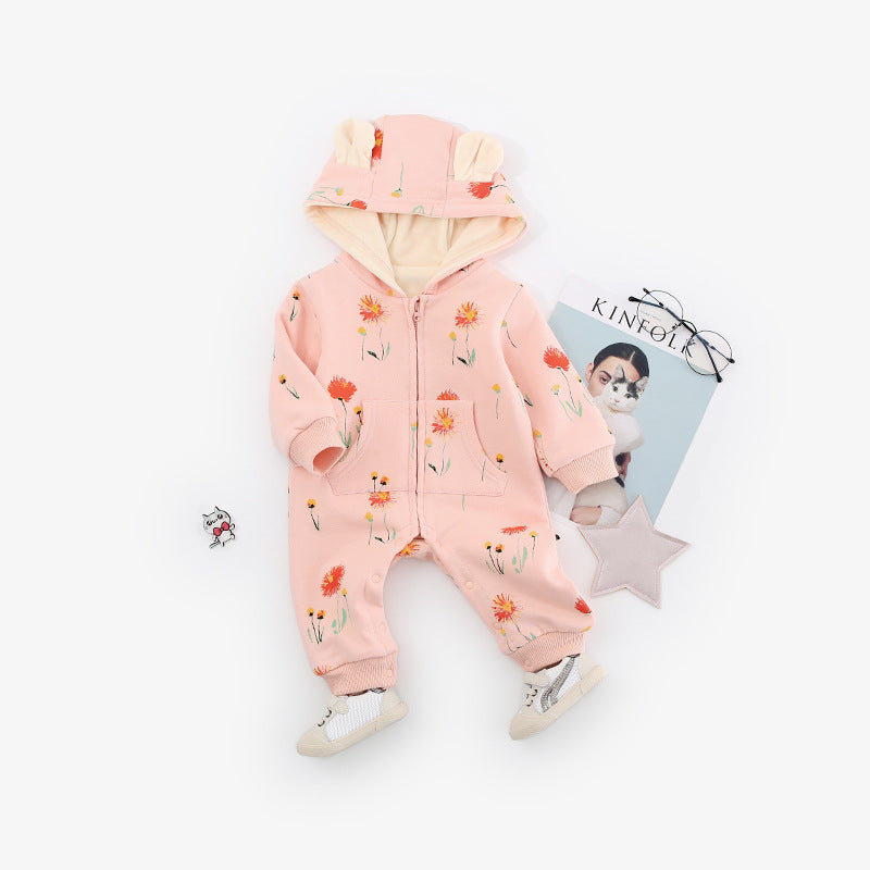 Cute Baby Hooded Animal Jumpsuit - Little Swan Boutique