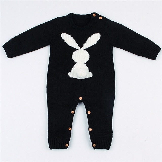 Baby Knitted Rabbit Jumpsuit - Little Swan Boutique