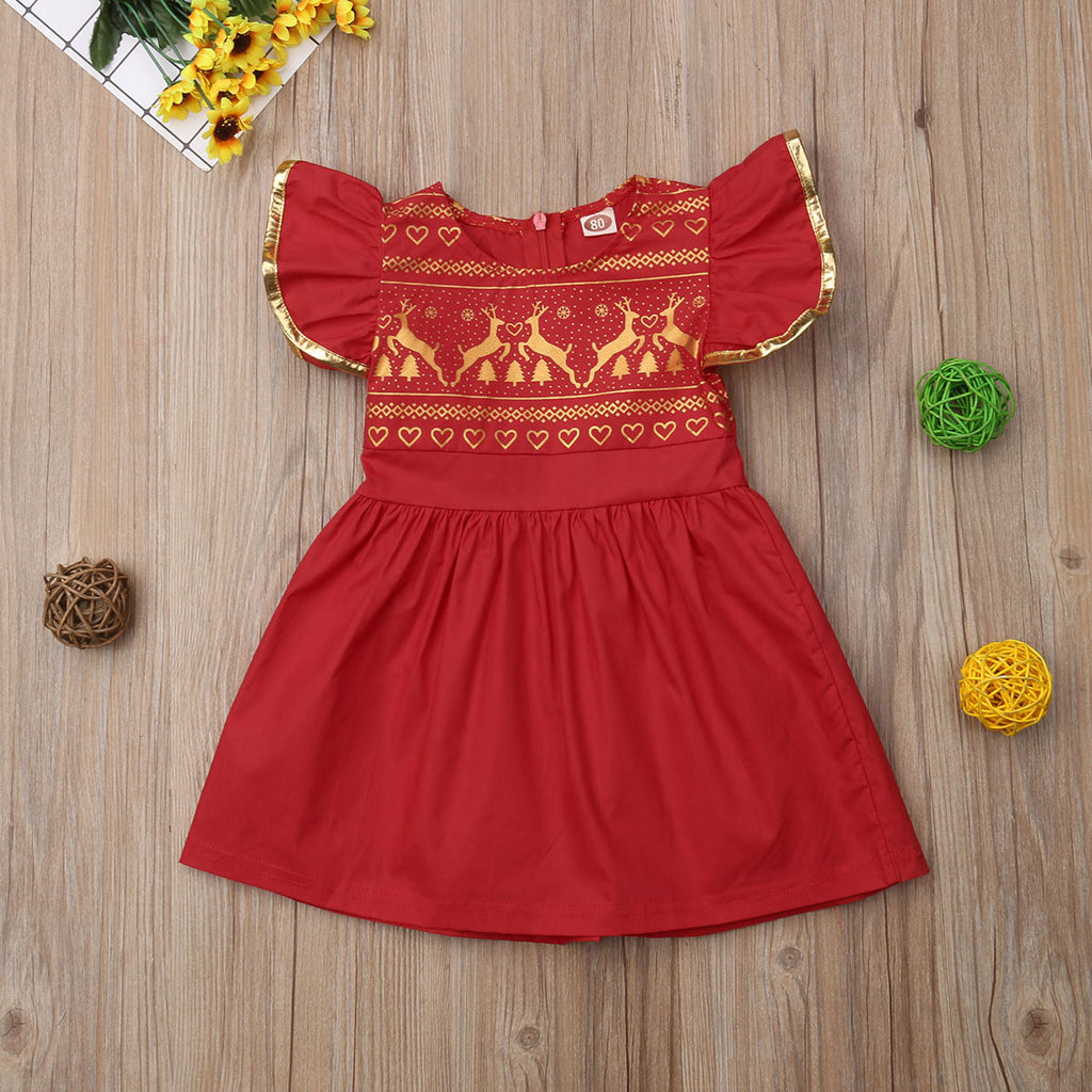 Cute Girls Ruffled Reindeer Christmas Dress