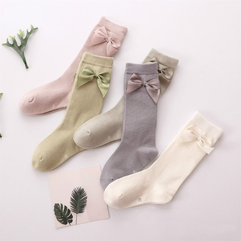 Cute Girls Solid Bow Knee High Socks