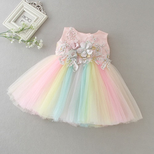 Beautiful Girls Rainbow Party Dress - Little Swan Boutique