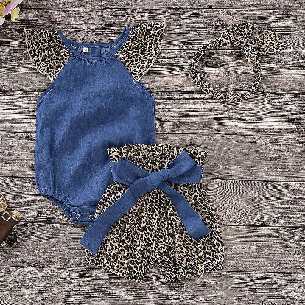 Baby Girls Leopard Print Romper + Shorts + Headband - Little Swan Boutique