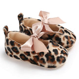 Cute Girls Leopard Print Bow Shoes
