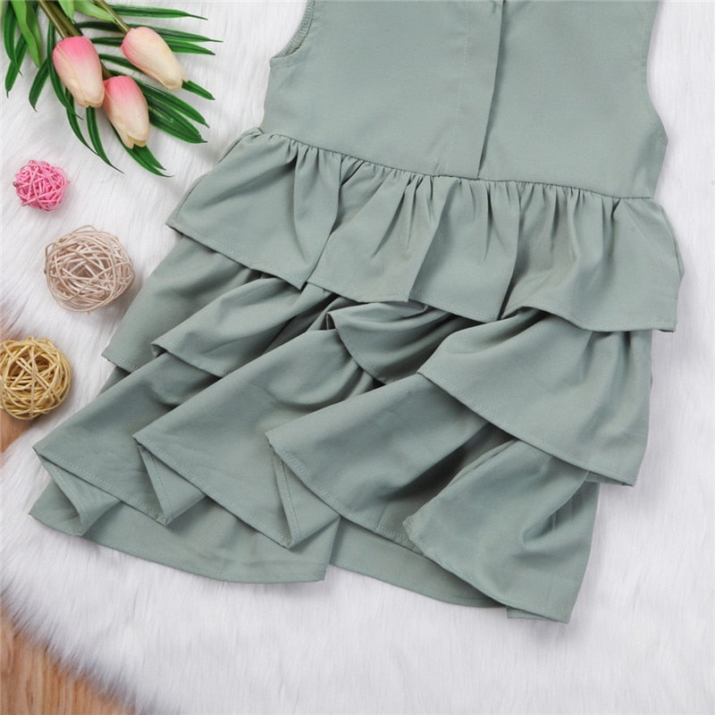 Girls Ruffle Sleeveless Dress