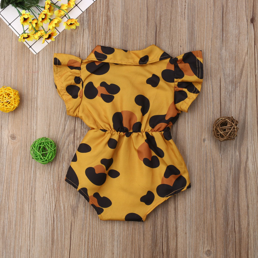 Baby Girls Leopard Heart Romper - Little Swan Boutique