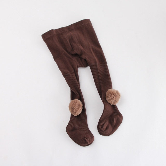 Baby Girls Tights With Pom Poms - Little Swan Boutique