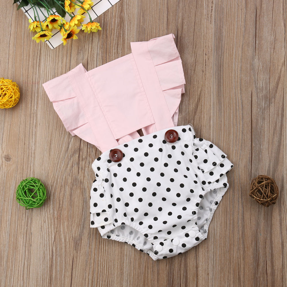 Baby Girls Polka Dot Floral Romper - Little Swan Boutique