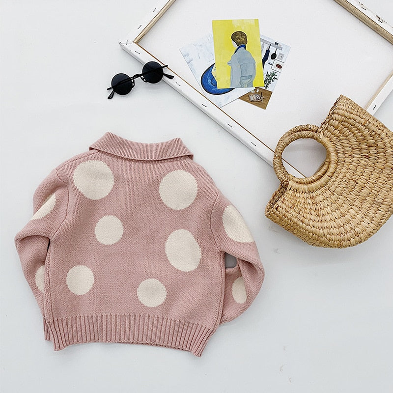 Kids Korean Polka Dot Knitted Pullover Sweater