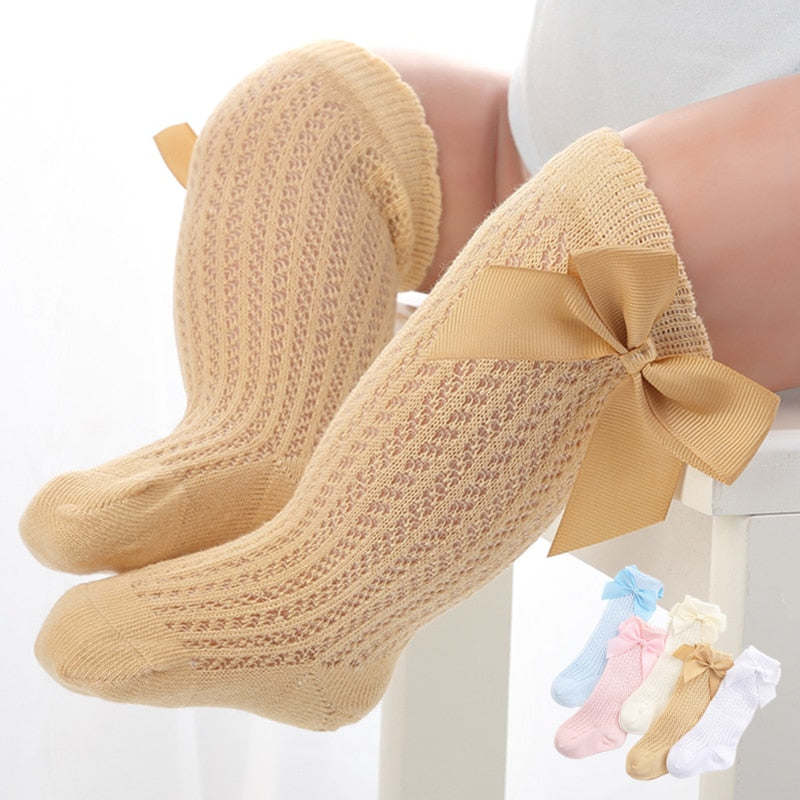 Baby Girls Knee High Bow Socks - Little Swan Boutique