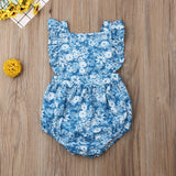 Adorable Baby Girls Sleeveless Ruffled Floral Romper