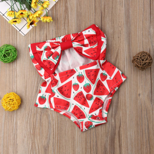 Baby Girls Watermelon Print Tube Top Bow Romper - Little Swan Boutique