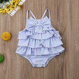 Baby Girls Striped Bow Sleeveless Ruffled Backless Romper - Little Swan Boutique