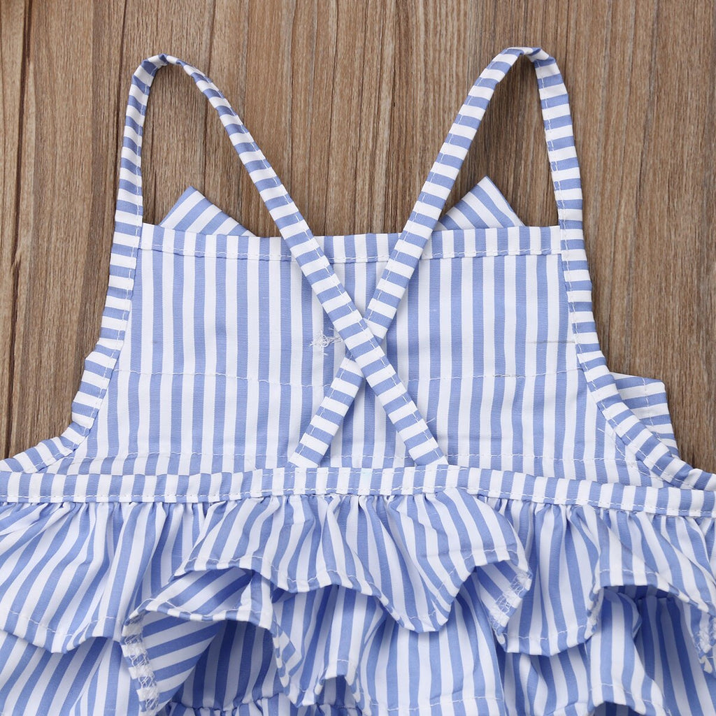 Baby Girls Striped Bow Sleeveless Ruffled Backless Romper