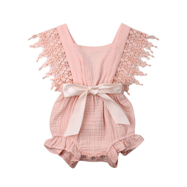 Cute Baby Girls Sleeveless Summer Lace Bow Romper