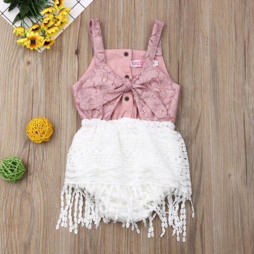 Cute Baby Girls Lace Tassel Summer Romper - Little Swan Boutique