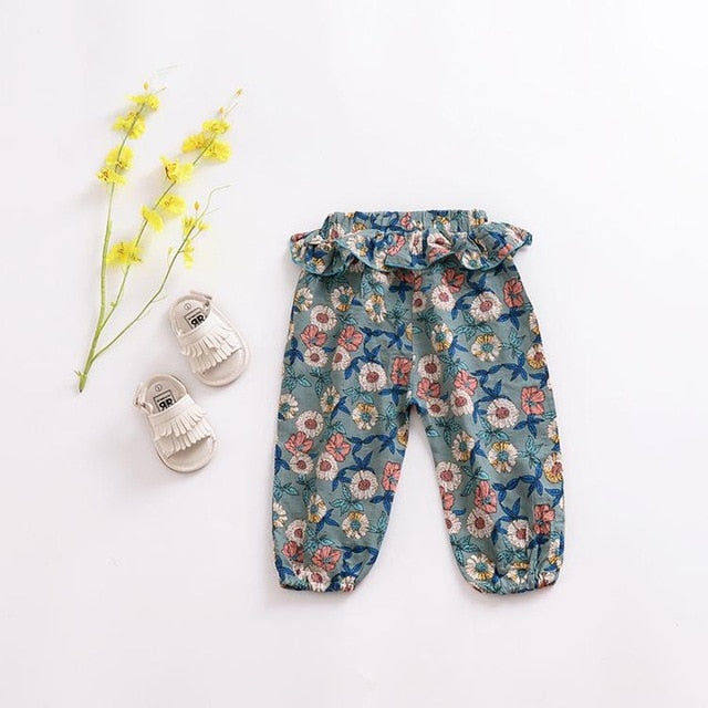 Girls Linen Floral Harem Trouser