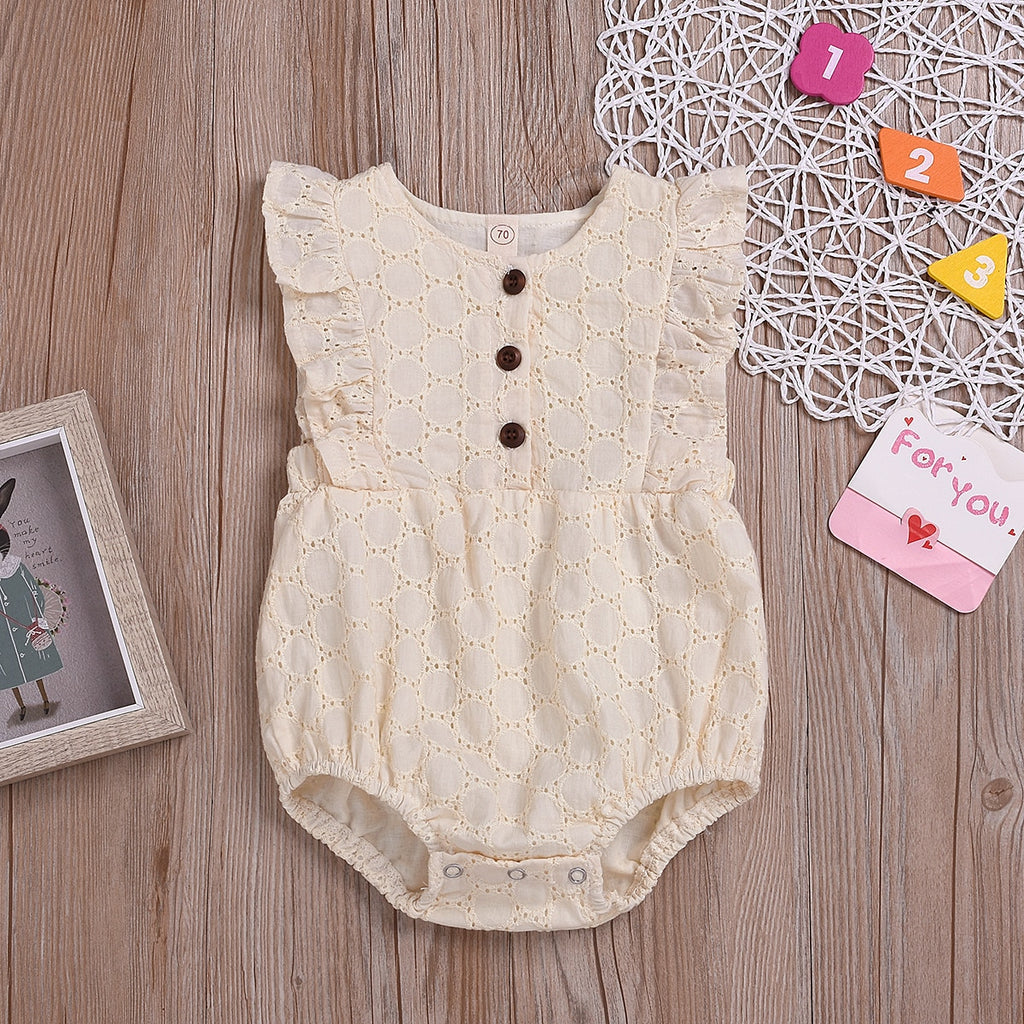 Cute Baby Girls Solid Linen Sleeveless Ruffled Romper