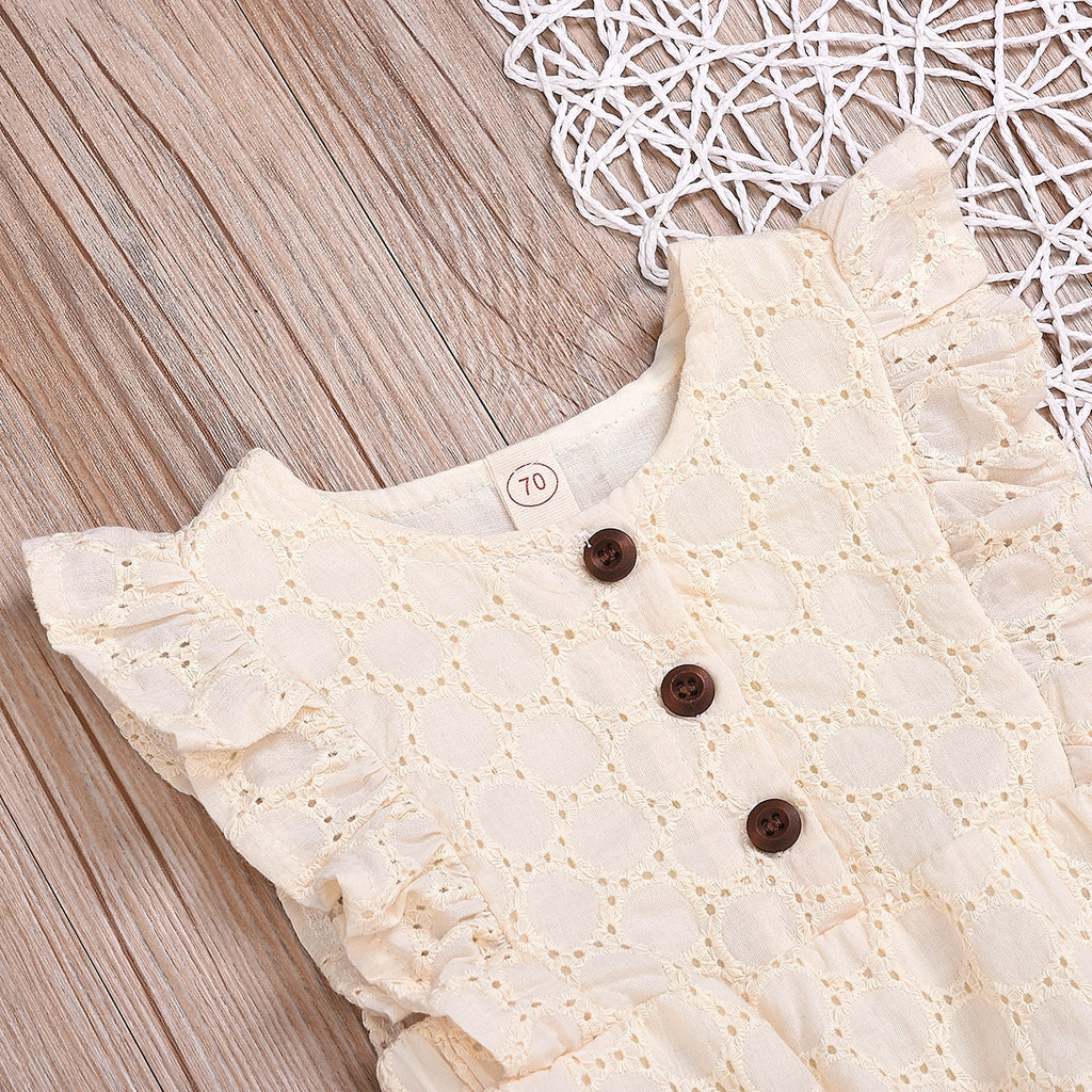 Cute Baby Girls Solid Linen Sleeveless Ruffled Romper - Little Swan Boutique