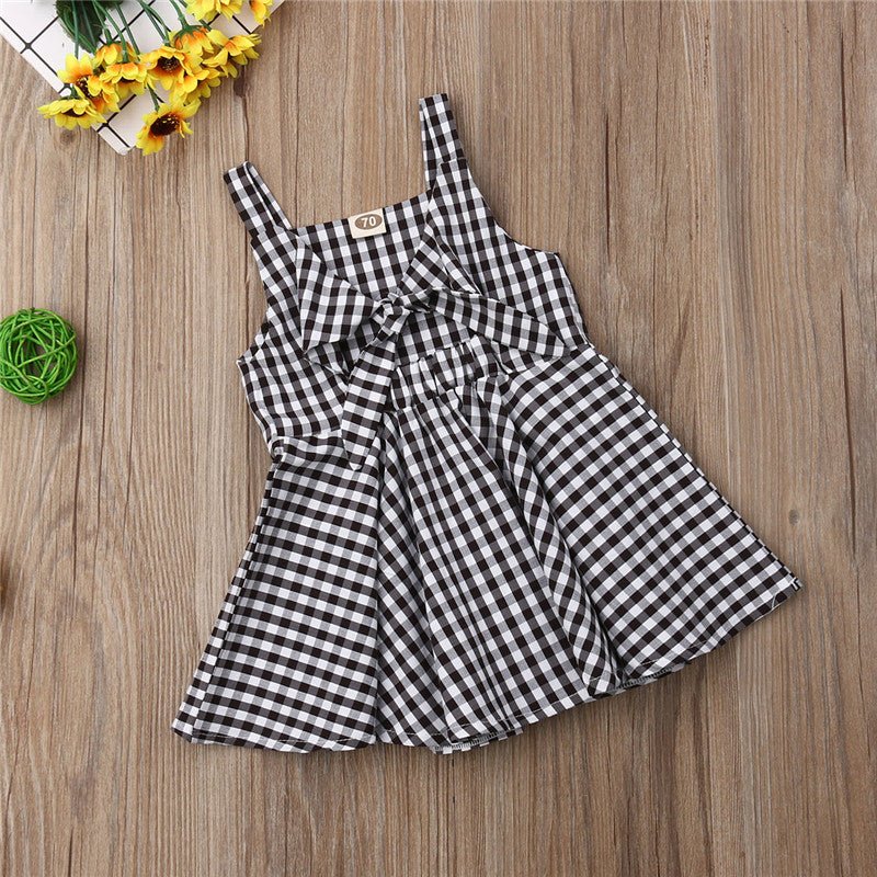 Girls  Retro V-Neck Strap Sleeveless Plaid Dress